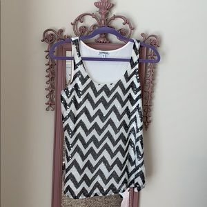 Black and white shimmer chevron tank - EXPRESS